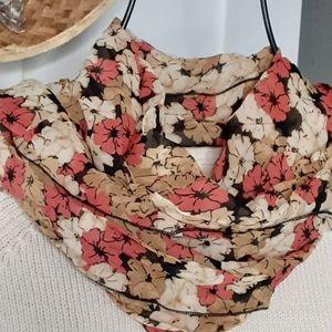 Floral crepe scarf